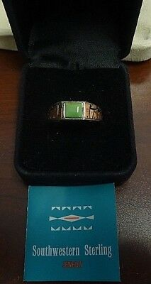 QVC WJ Wilson Jim 925 Sterling Silver & Copper Ring w/ Turquoise.  Original Box.