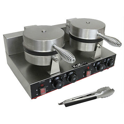 Double Waffle Maker Iron Non-Stick Commercial Catering Kitchen Stainless Steel