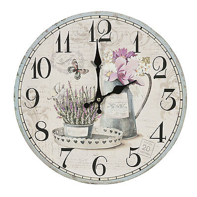 Clayre & Eef Vintage Wall Clock Nostalgic Country House Style Shabby Chic Pot