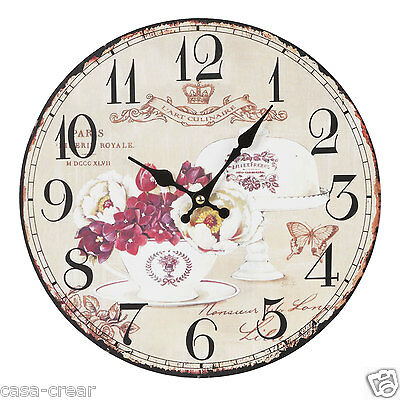 Clayre & Eef Vintage Wall Clock Nostalgic Country House Style Shabby Chic