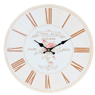 Clayre & Eef Vintage Wall Clock Nostalgic Country House Style Roses Shabby