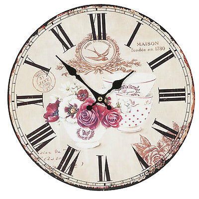 Clayre & Eef Vintage Wall Clock Nostalgic Clock Country Style Shabby Roses 11in