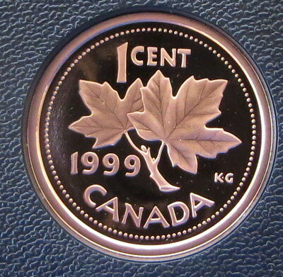 1999 Canada 1 Cent Bronze Penny - Maple Leaf - Proof version