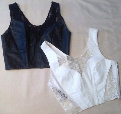 Vintage Womens Chia Leather & Lace Crop Halter Bustier Top Size Small