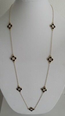 """Beautiful Women Gold Necklace,36"""" long,Black clover/flower with crystal stone"""