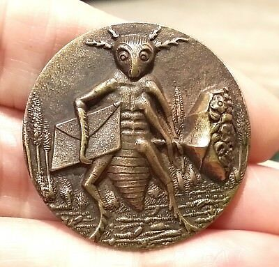 Charming Antique Vintage Metal Picture Button…Insect Bug Going On A Date w Gifts