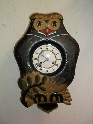 Antique Owl Clock,blinking Eye,animated Mouth,calls Out Like Cuckoo Clock Be