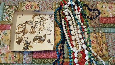 Vintage Jewelry LOT OF Necklaces And Misc. At least 20 Pieces