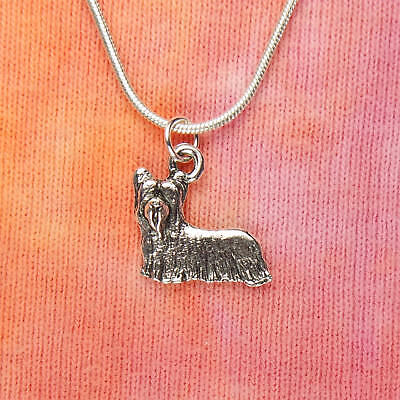Yorkie Dog Necklace, Yorkshire Terrier Toy Breed Dog Lover Charm Pendant Jewelry