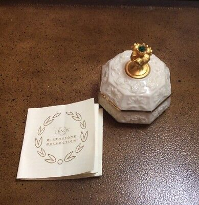 Rare Vintage Lenox  Birthstone (May) Trinket Box Mint,The Lilly Of The Valley