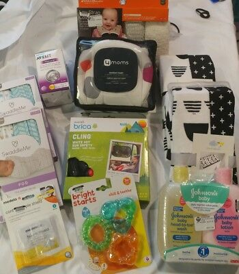 Lot of Newborn Items, 11 Items in Total, Swaddles, Changing Pad Covers, Teethers