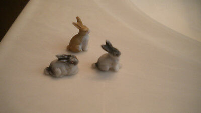 Vintage Miniature Figurines RABBITS 2 Marked Germany 3 Total Bisque or Ceramic