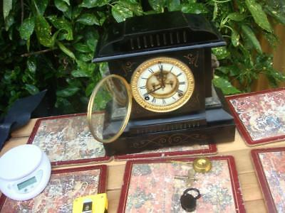 Vintage Ansonia Mantle Clock  With Original Key and Pendulum With Metal Case