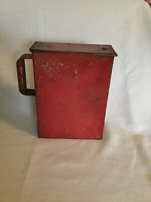 Barn red tin container, with thumb slide top & comfort handle. Farm fresh!!