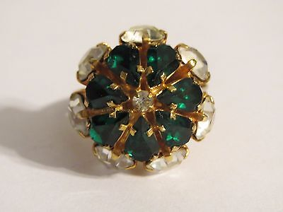 Big Stacked Clear & Green Drop Crystals Cocktail Ring Signed Austria 9