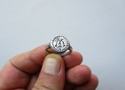 ancient late Byzantine~Middle Ages monogram carved silver ring circa 10 century