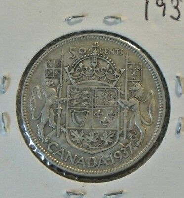 Canada 1937 50 Cents Half Dollar King George Vi Canadian .800 Silver Coin
