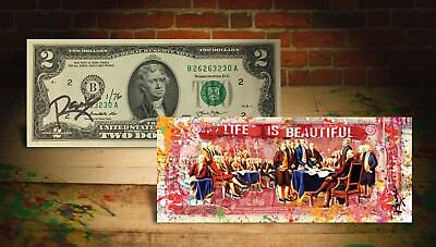 Declaration of Independence S/N of 76 Rency SIGNED on Genuine $2 US Bill (Life)