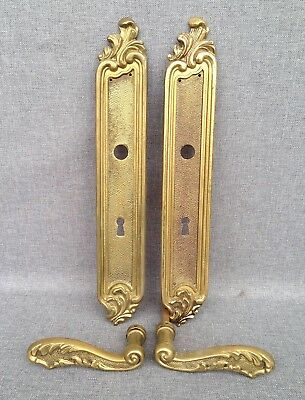 Antique french door handles set made of bronze early 1900's mansion castle