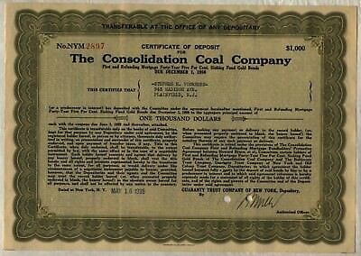Consolidation Coal Company Bond Stock Certificate