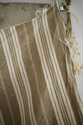 Antique French linen TICKING pannel WASHED c1900