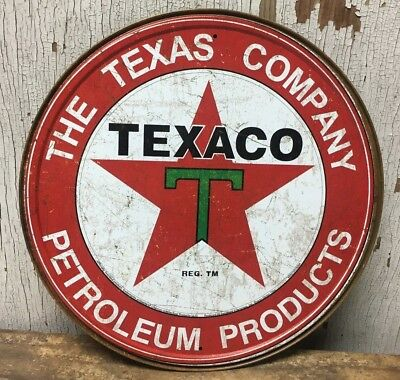 "Texaco Petroleum Products Texas Company 12"" Round Metal Wall Sign"