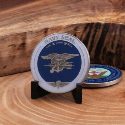 US Navy Seal Navy Emblem *Air *Land *Sea Antique Silver Challenge Coin.