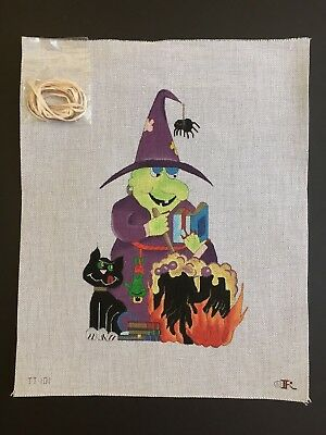 Renaissance Designs Hand-painted Needlepoint Canvas Halloween Witch & Cauldron