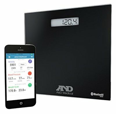A&D Medical Wireless Connected Weight Scale, Black (UC-352BLE) and Sleek design