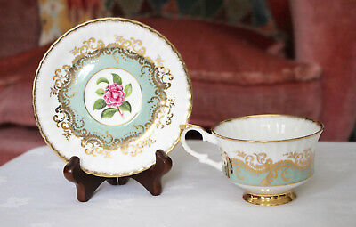 A Fine Vintage Paragon Cup and Saucer, Mint Green with Roses