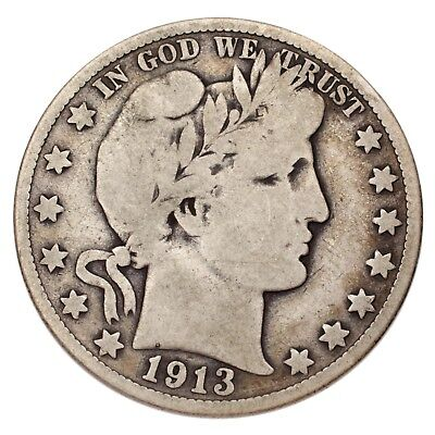 1913-S Silver Barber Half Dollar 50C (Very Good, VG Condition)