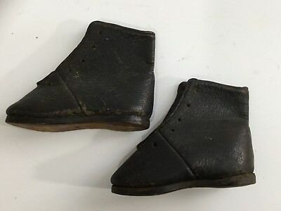 Antique Pair Of Black Leather Baby Or Toddler Shoes