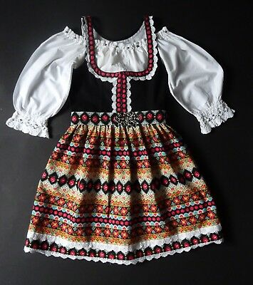 German Austrian Girls Vintage Dirndl Dress + Blouse 10-11 years