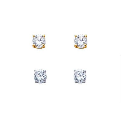 1/4CT Round Simulate Diamonds Solitaire Stud Real 14k Solid Gold Basket Earrings