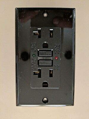20A GFCI SAFETY OUTLET with LED - BLACK - CO-GF20BK-2L 2 Pole 3 Wire Pilot Light