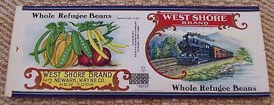 Vintage West Shore Refugee Bean Can Label..Great Train Image