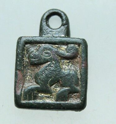 L6 Merovingian Bronze Pendant -Rabbit   Gold Plate L=23x15x4mm 9,6g Very Rare