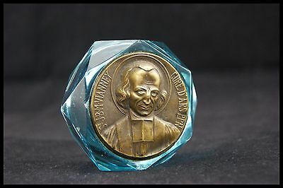 † Saint John Baptist Mary Vianney 1 Blue Glass Paperweight Cure Of Ars Medal †