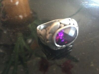 Vintage Sterling Silver Fine Amethyst Red Blue Flash Pebble Ring Size 6