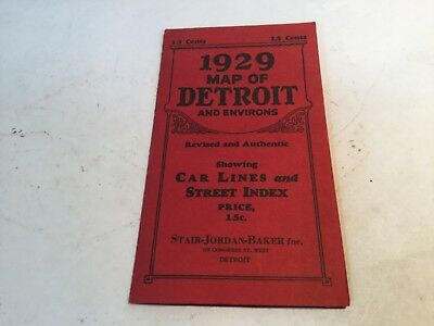 Vintage 1929 map of Detroit and environs