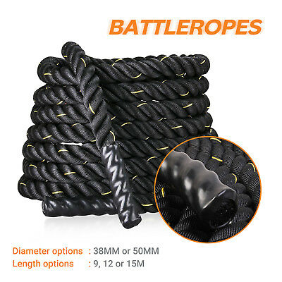Battle Rope 38mm 50mm Battling Workout Bootcamp Gym Exercise Fitness 9/12/15m