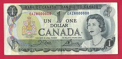 1973 $1 Bank of Canada Crow-Bouey EAZ 8 Million Serial Number! - Circulated