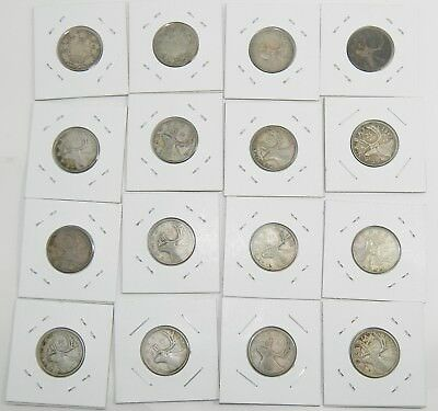 Canada Silver Twenty-Five Cents Quarters  Lot of 16 coins