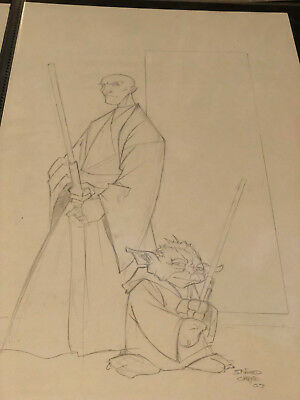 original comic art sketch Mace and Yoda Sanford Greene Drawing