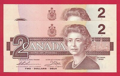 1986 $2 Bank of Canada Thiessen-Crow BRX 2 Consecutive 2973215-6 - Ch UNC
