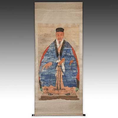 Antique Chinese Ancestor Portrait Scroll Painted Silk Calligraphy China 19Th C.