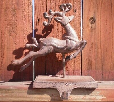 Antique (1920s) Christmas Cast Iron Deer / Reindeer Stocking Hanger / Holder