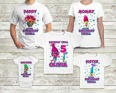 Trolls Birthday Shirt Custom Name and Age TShirt Family Birthday Party Poppy
