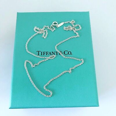 "Authentic Tiffany & Co Sterling Silver 1mm Chain Necklace 18"" With Pouch NEW!!!"