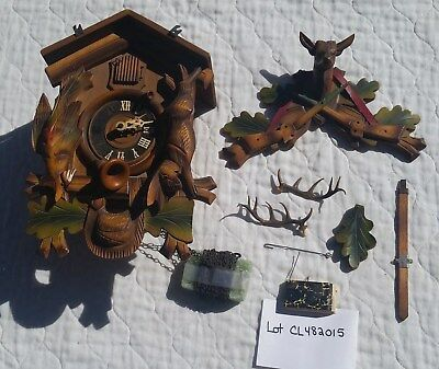 Cuckoo Clock Vintage Hunter's Bird & Rabbit w/green & red accents w/top & more